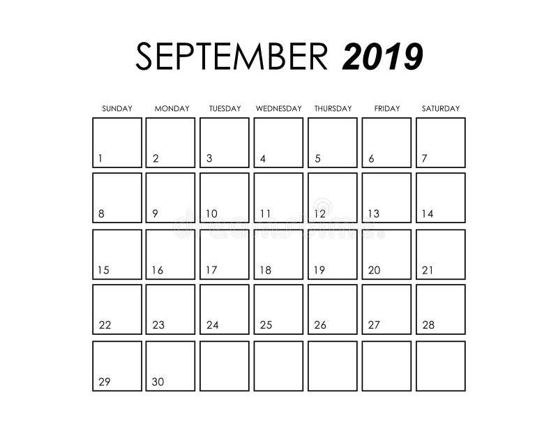 download 排进日程2019年9月 库存例证.图片