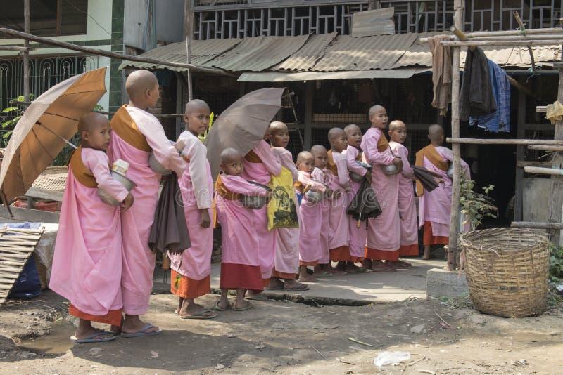 排队为施舍的年轻佛教尼姑 免版税库存照片