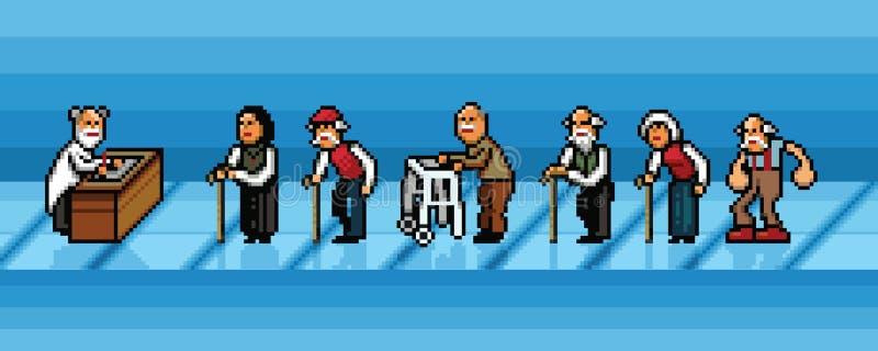 排队在医院映象点艺术的老人导航层数例证 向量例证