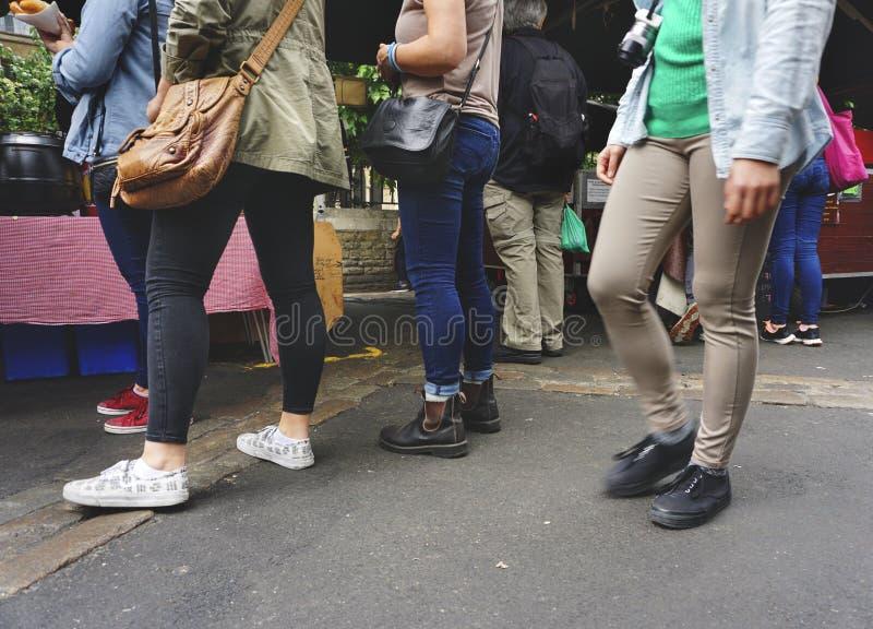 排队概念的街道食物 图库摄影