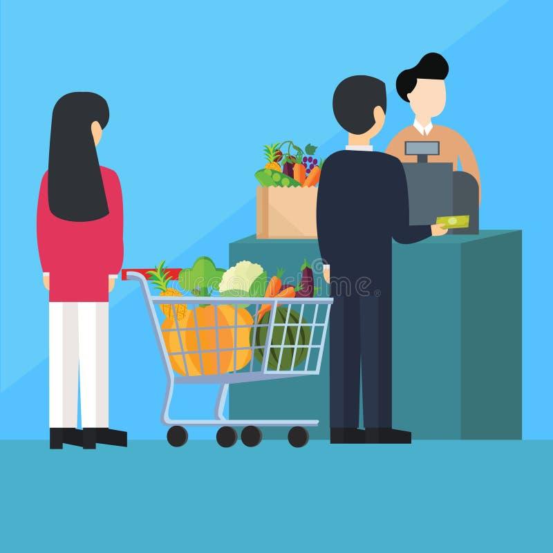 排队的队列薪水出纳员买菜 向量例证