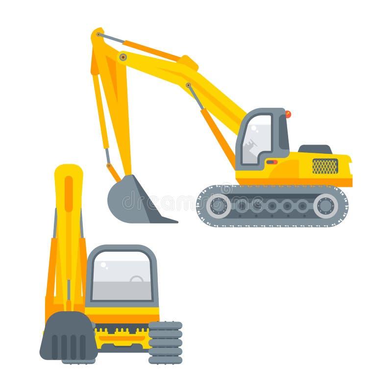 掘泥机例证侧视图和正面图 库存例证