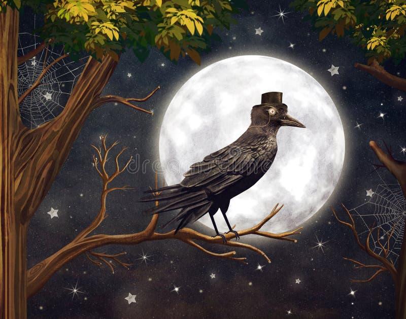 掠夺在月光在一个黑暗的森林里 皇族释放例证