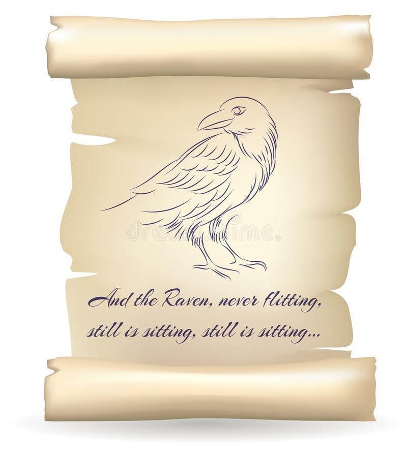 掠夺在爱伦・坡诗歌传染媒介例证启发的纸纸卷的剪影 皇族释放例证