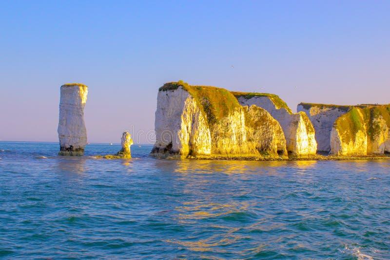 掠夺老岩石 白垩峭壁在多西特,南英国 免版税库存照片