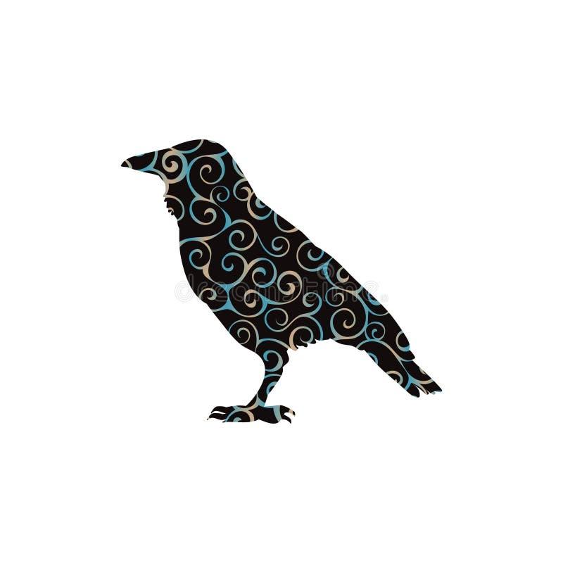 掠夺鸟螺旋样式颜色剪影动物 向量例证