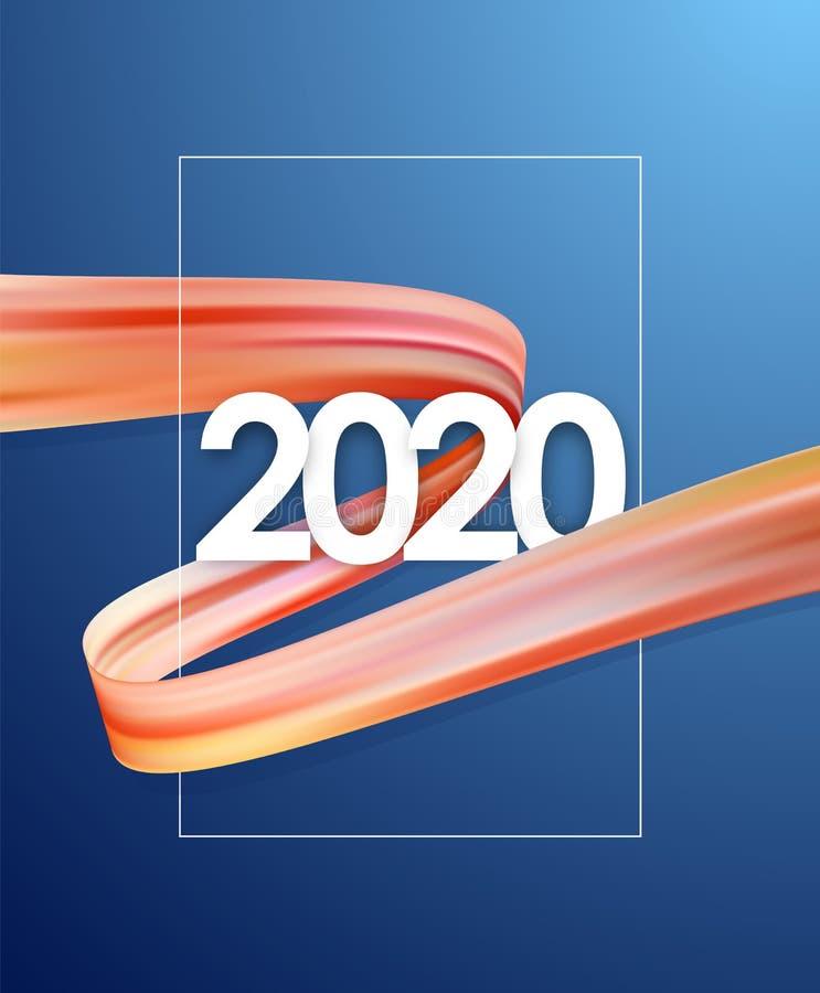 掠过冲程油或丙烯酸漆与新年2020年 海报时髦设计 向量例证