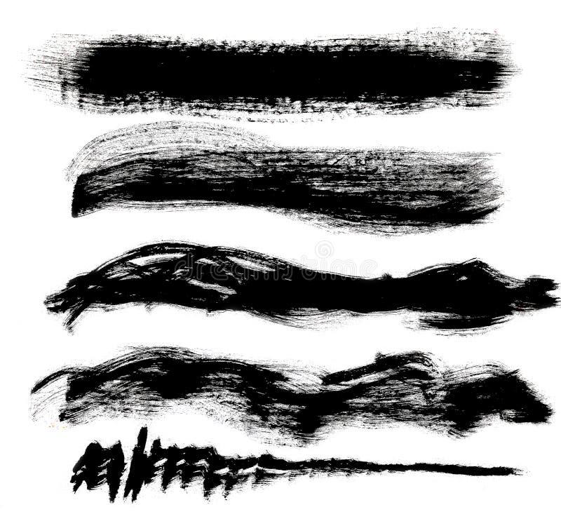 掠过在白色背景隔绝的黑树胶水彩画颜料冲程 库存例证
