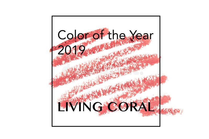 掠过并且绘在纸生存珊瑚的纹理 年的颜色2019年 皇族释放例证
