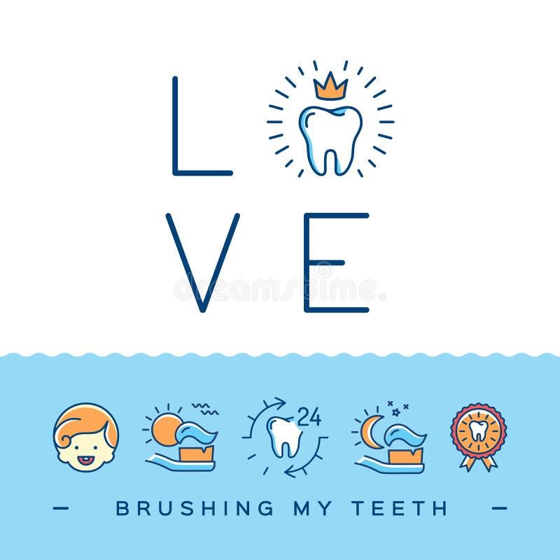 掠过我的牙卡片,儿童` s牙科逗人喜爱的海报 刷他们的牙的教的孩子:我爱刷我的牙 库存例证