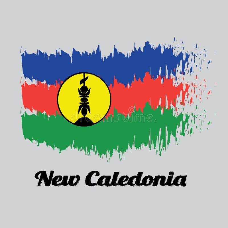 掠过样式新喀里多尼亚、蓝色红色和绿色颜色旗子与一黄色圆盘fibrated黑和损毁与一个垂直的标志 向量例证
