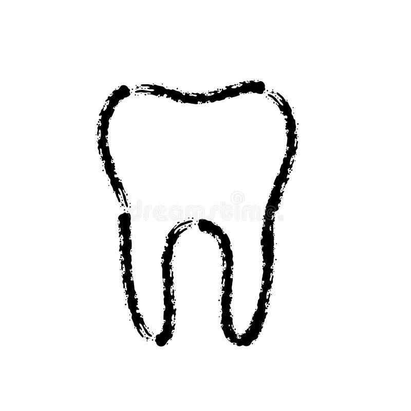 掠过牙齿牙冲程手拉的传染媒介象  皇族释放例证