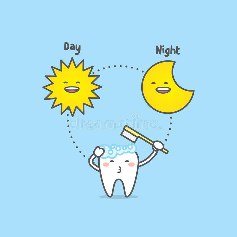 掠过的时间天&夜与牙字符,太阳,月亮, illus 库存例证