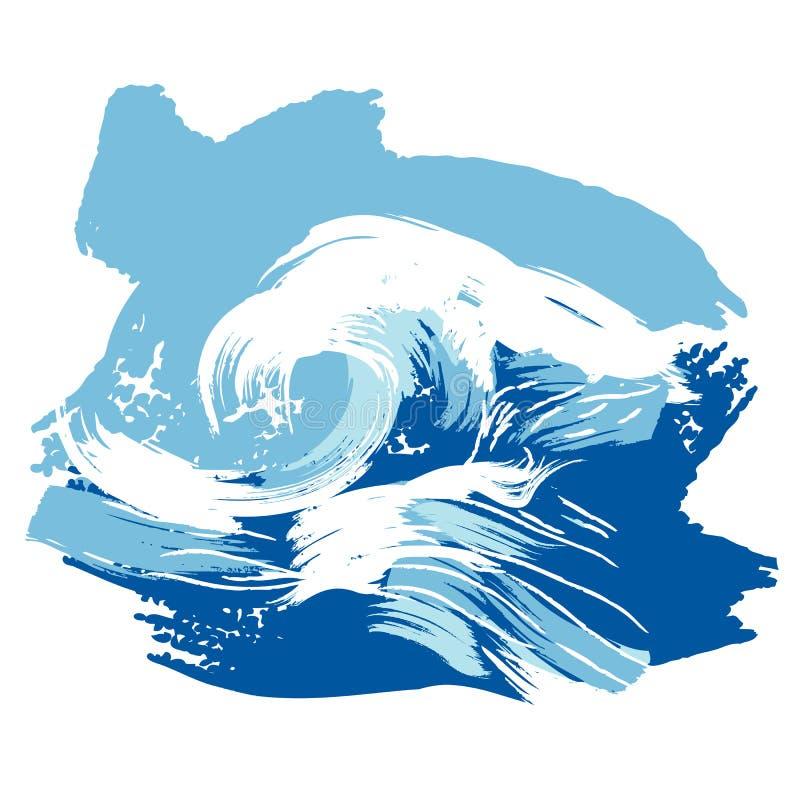 掠过的海洋飞溅被传统化的通知 向量例证