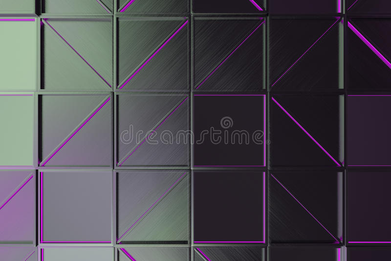 掠过的金属瓦片墙壁有对角发光的元素的 库存例证