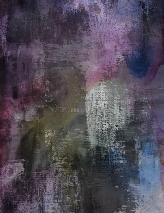掠过的黑暗的紫色水彩绘了难看的东西背景纺织品 库存图片