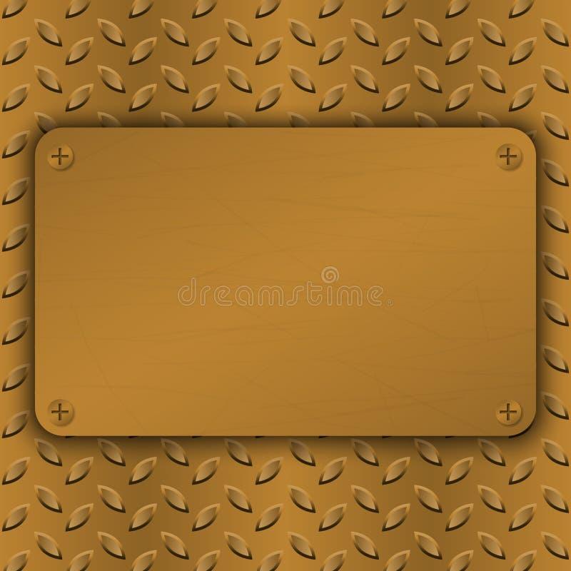 掠过的黄铜,上铜被装饰的表面模板 抽象工业techno传染媒介例证 金属背景 皇族释放例证