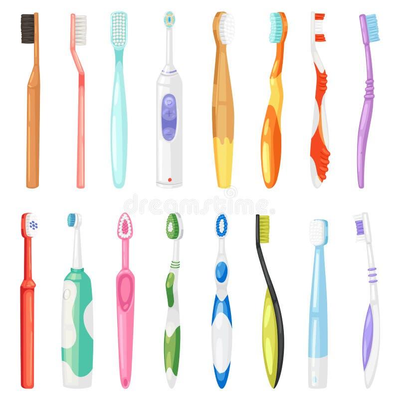 掠过的teethwith牙膏例证牙科套的Toothbrushe传染媒介牙齿卫生学牙刷掠过 皇族释放例证