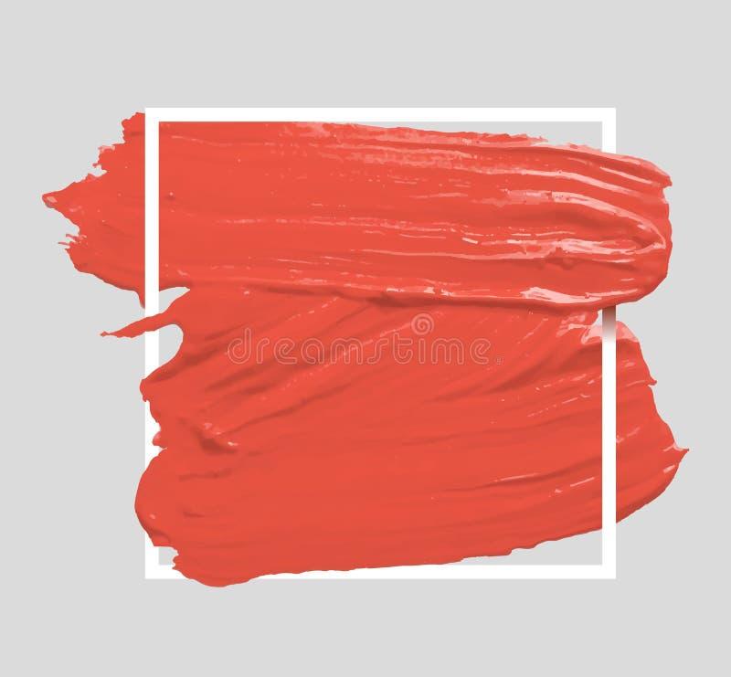 掠过被绘的水彩背景 构造居住的珊瑚 艺术抽象刷子油漆丙烯酸酯的冲程海报 颜色的 皇族释放例证