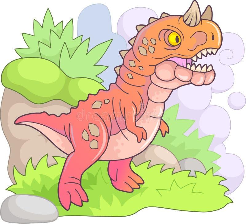 掠食性史前恐龙食肉牛龙,滑稽的例证 库存例证