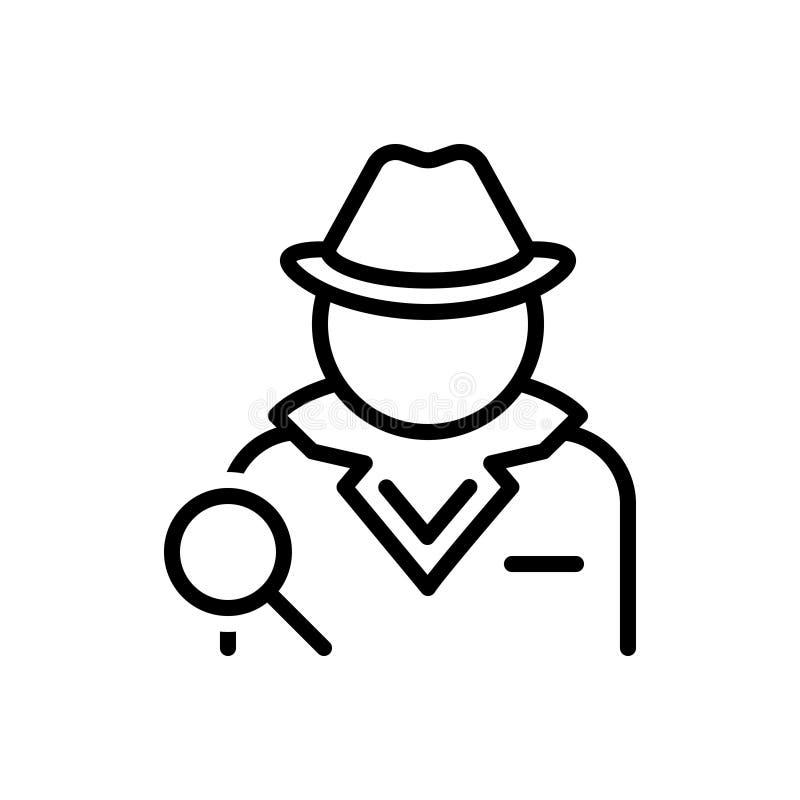 探员、调查员和代理的黑线象 向量例证