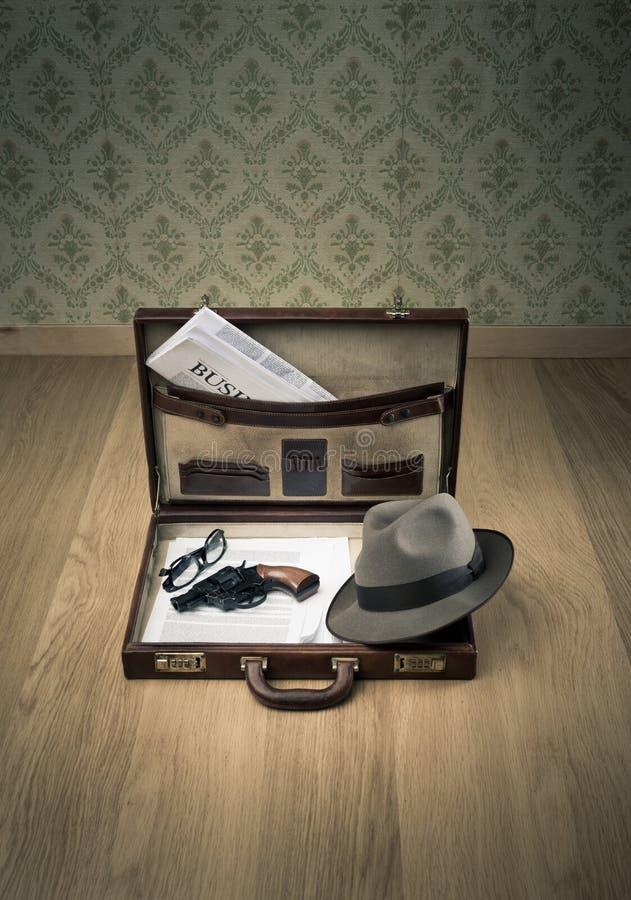 探员的葡萄酒公文包 免版税图库摄影