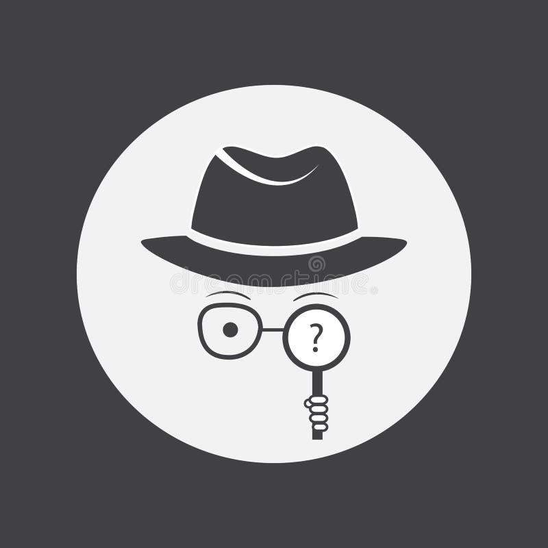 探员 间谍 帽子、玻璃和放大镜的未知的人在手中 向量例证