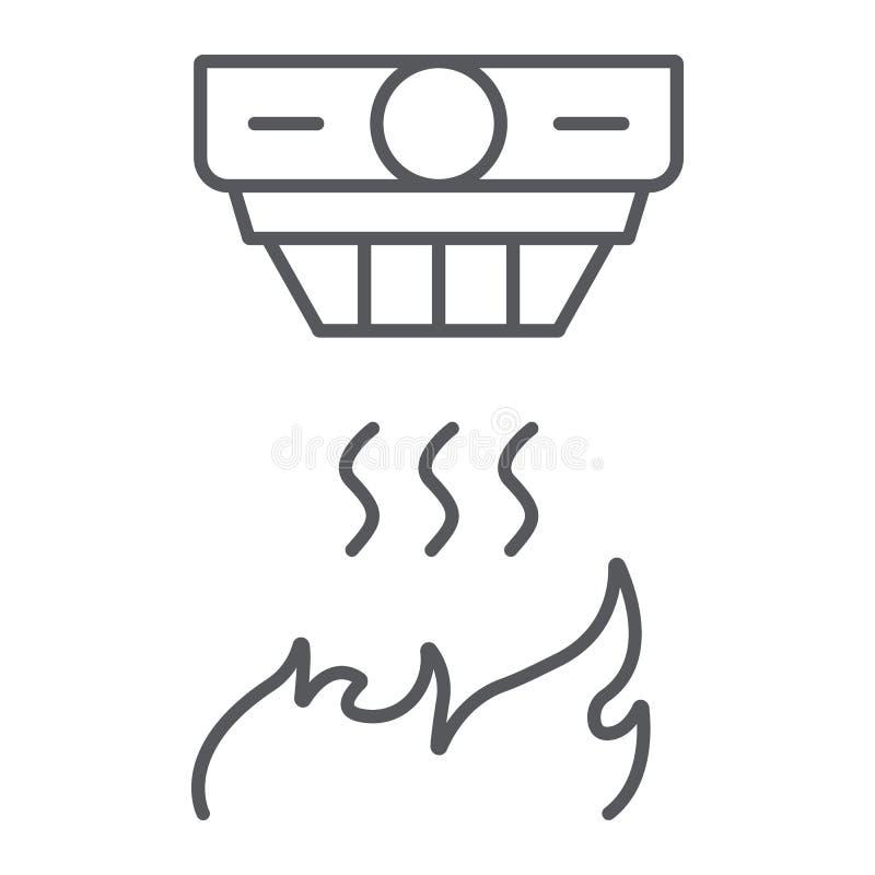 探火仪稀薄的线象,警报和设备,烟检测器标志,向量图形,在白色的一个线性样式 库存例证