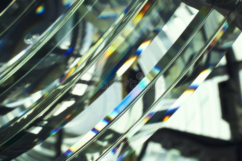 探照灯与彩虹光谱的烽火台玻璃 免版税库存照片