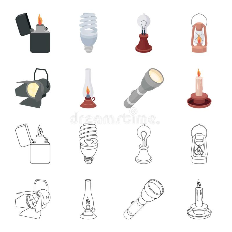 探照灯,煤油灯,蜡烛,手电 在动画片,概述样式传染媒介标志的光源集合汇集象 向量例证