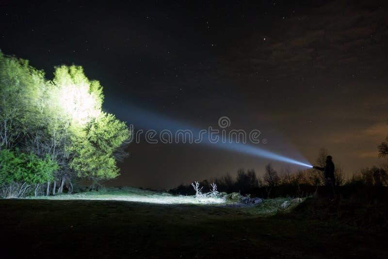 探索与手电的人在森林里 免版税库存图片