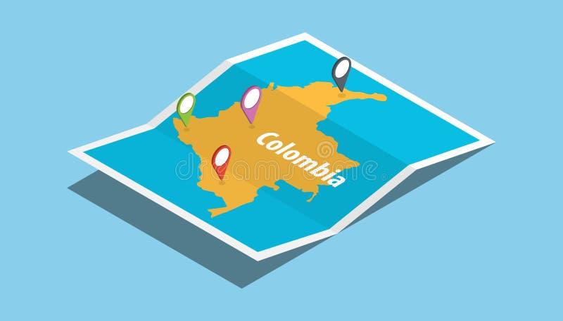 探索与等量样式的哥伦比亚地图并且别住在上面的地点标记 库存例证