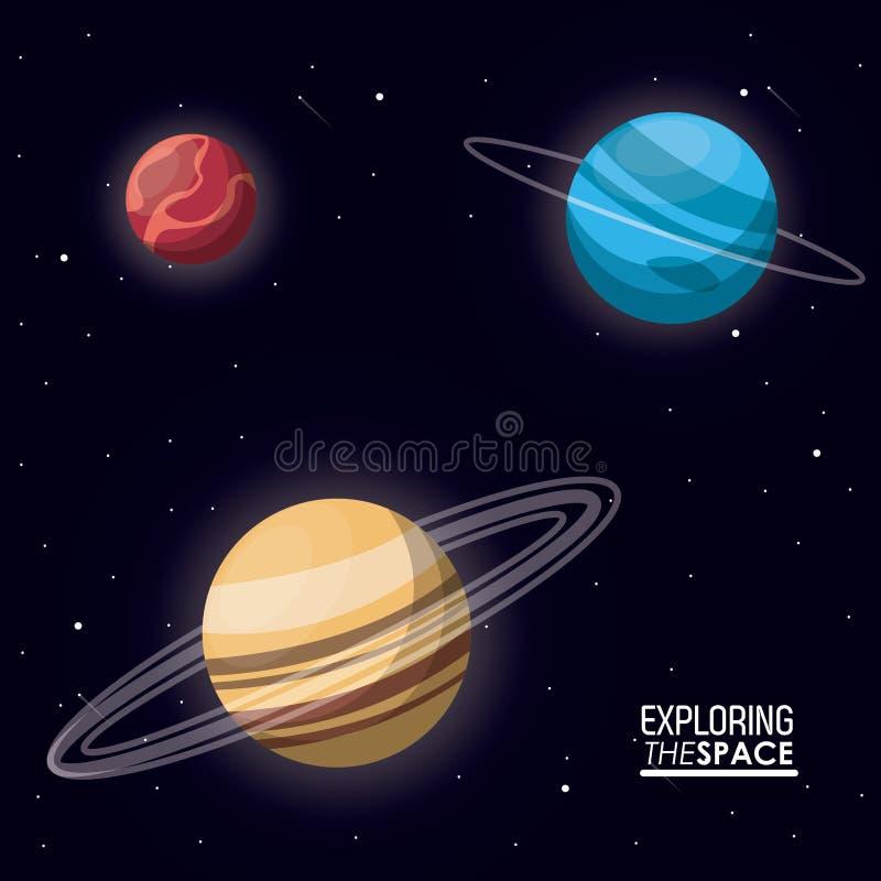 探索与行星土星天王星和水银的五颜六色的海报空间 皇族释放例证