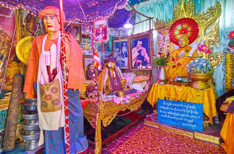 探索波帕岛塔翁Kalat修道院,缅甸寺庙  免版税库存图片