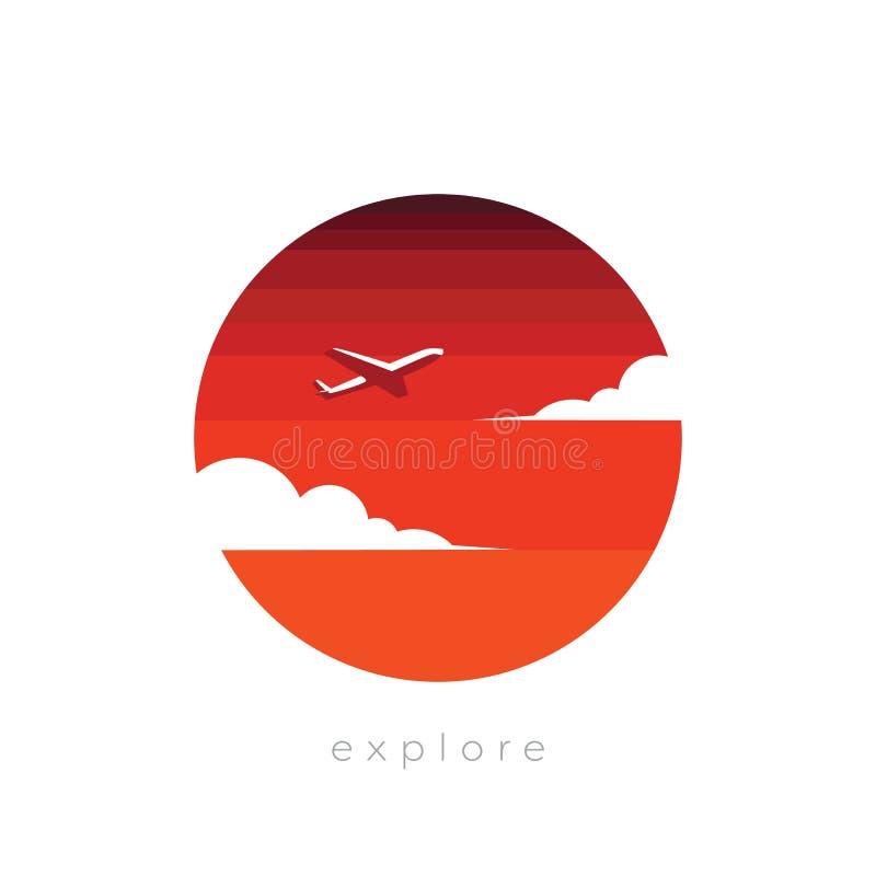 探险和旅行与抽象平面飞行的概念传染媒介到日落天空里 自我发现,活跃生活方式 库存例证