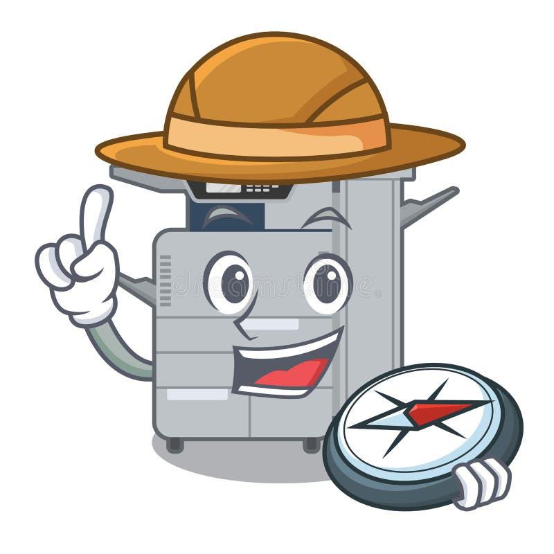 探险家在吉祥人木桌上的影印机机器 向量例证