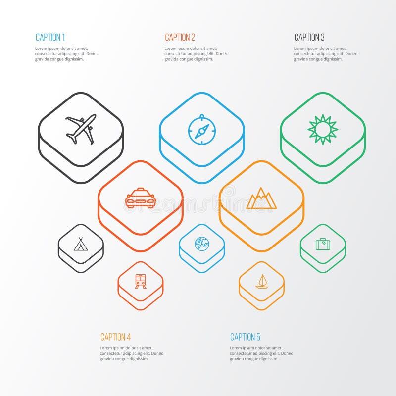 探险被设置的概述象 箭头、行李、出租汽车和其他元素的汇集 并且包括标志例如 向量例证