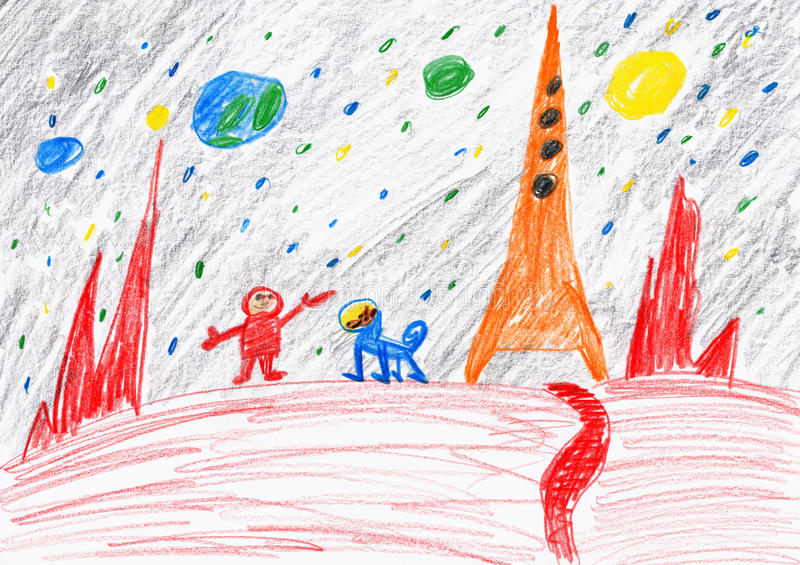 探索红色行星,空间概念,在纸的儿童图画的宇航员和狗 皇族释放例证