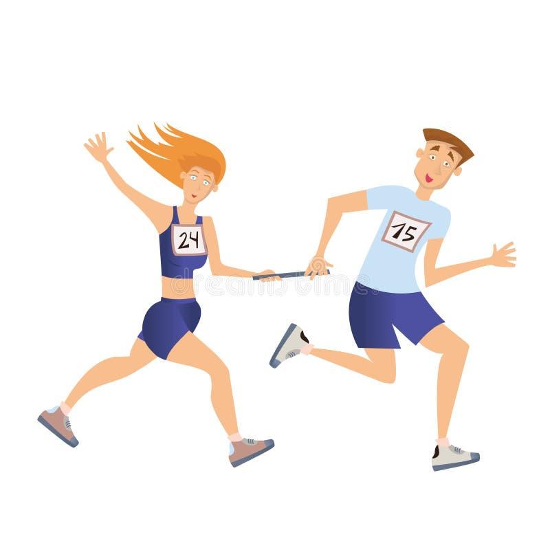 接力赛 连续男人和妇女 向量例证,查出在白色 库存例证