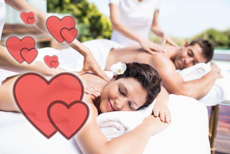 接受与爱心脏的一对年轻夫妇的综合图象后面按摩 向量例证