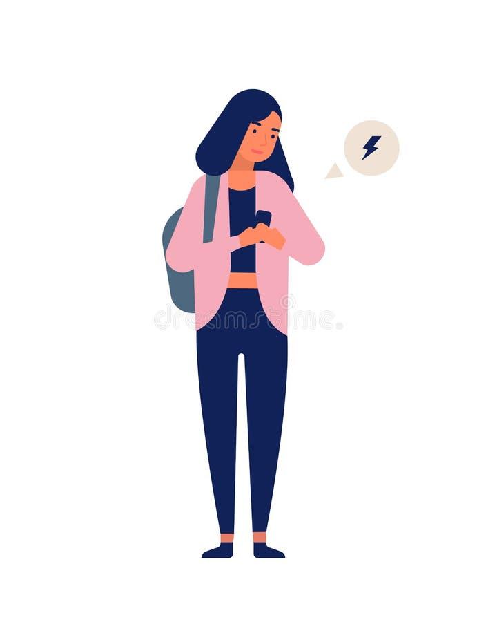 接受在智能手机的十几岁的女孩通知 年轻愉快的手机的妇女短信的或冲浪的互联网 ?? 皇族释放例证