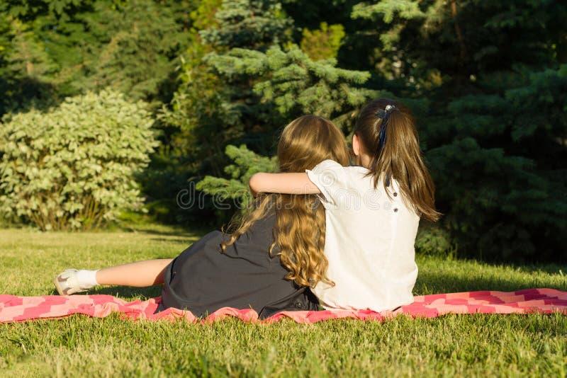接受坐一个草甸的两个小女朋友在公园 回到视图 免版税库存图片