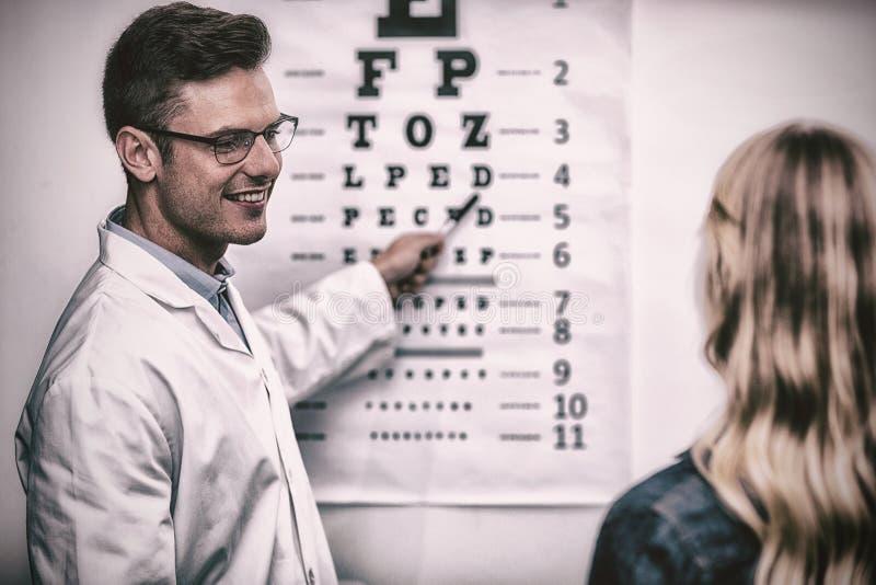 接受女性患者的眼睛考试验光师 免版税库存图片