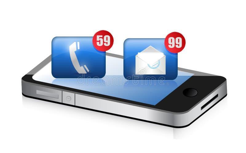 接受很多垃圾短信的智能手机 向量例证