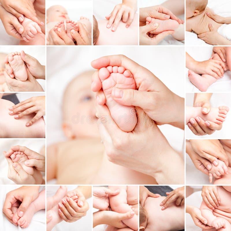 接受按摩脊柱治疗者或整骨疗法手工treatm的小婴孩 免版税库存照片