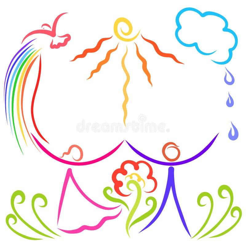 接受祝福、天气和生态的愉快的人民 皇族释放例证