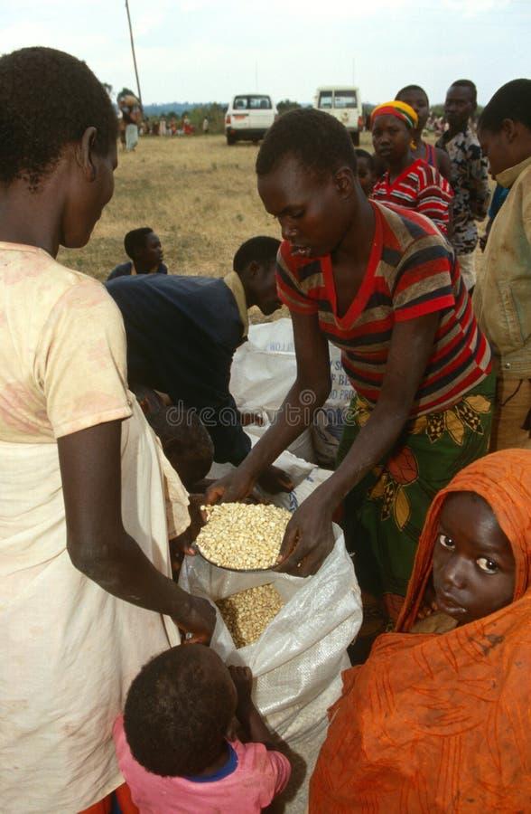 接受食品供应的人们从世界粮食方案 免版税库存图片