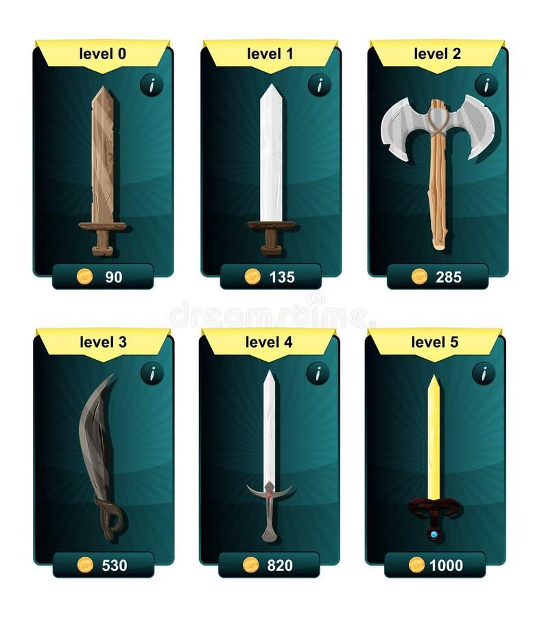 接口游戏设计资源包括从各种各样的金属材料的比赛武器和流动和网络游戏的资源象 pl 库存例证