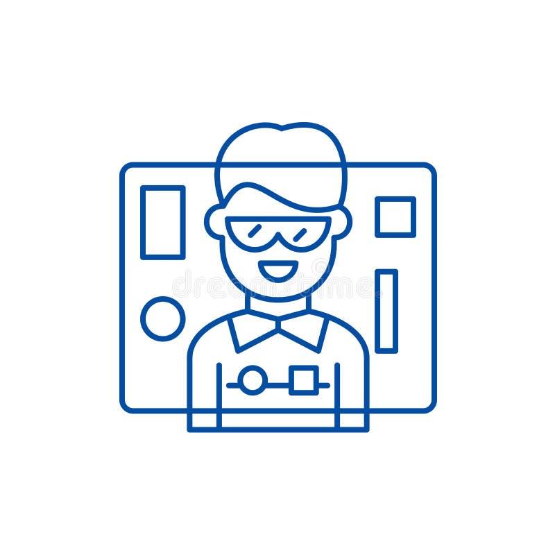 接口设计线象概念 接口设计平的传染媒介标志,标志,概述例证 库存例证