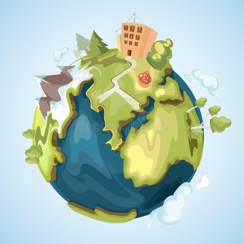 接地与大厦、树、山和自然元素传染媒介例证的行星在动画片样式 向量例证